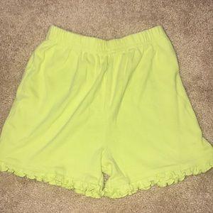 Kids lime-green ruffled shorts